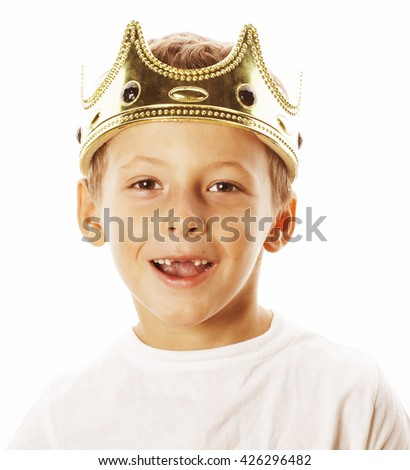little cute boy wearing crown isolated close up on white - stock photo
