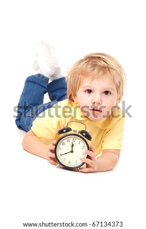Little cute boy with clock - stock photo
