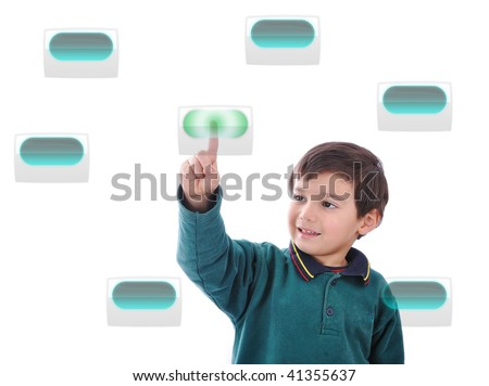 Little cute child pressing digital buttons on touchscreen, ideal for your concept - stock photo