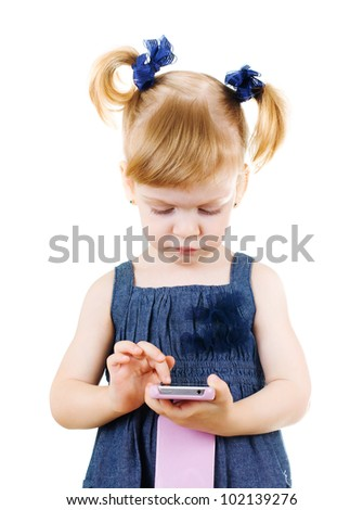 little cute girl  holding smart phone - stock photo