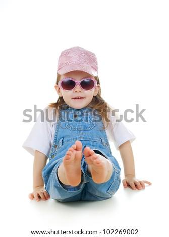 Little cute girl in sunglasses - stock photo