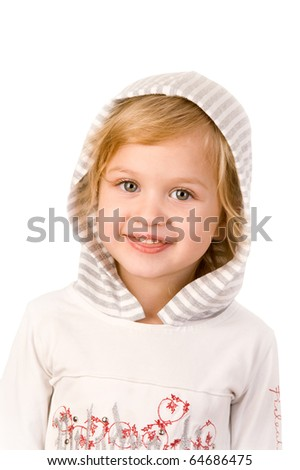Little cute girl with tongue close-up on white background - stock photo