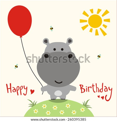 Little cute hippo happy birthday card stock illustration 260395385 little cute hippo happy birthday card bookmarktalkfo Image collections