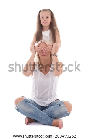little daughter close mother's eyes isolated on white background