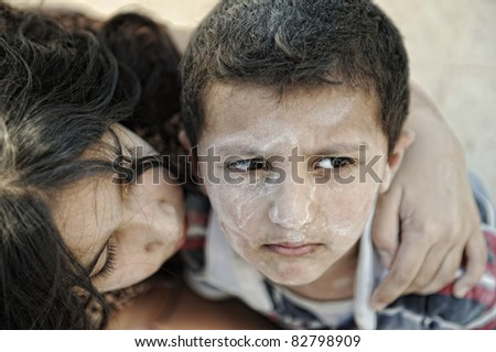 Little dirty brother and sister, poverty , bad condition - stock photo