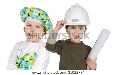 Little doctor and architect on a over white background - stock photo