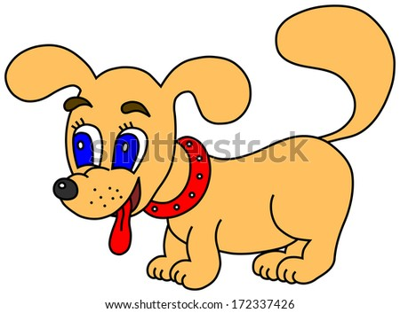 Little dog with tongue out (raster version; available as vector too) - stock photo