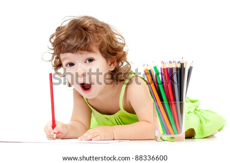 Little emotional girl with green pencil and big copyspace isolated - stock photo