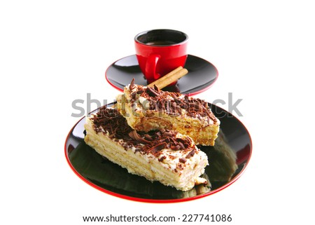 little espresso coffee cup and chocolate cake - stock photo