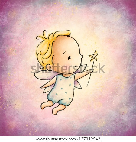 Little Fairy with magic wand - stock photo