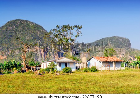Little farm house in the Valley of Vinales in Pinar del Rio, famous for tobacco and banana plantations in Cuba, world heritage site of Unesco - stock photo