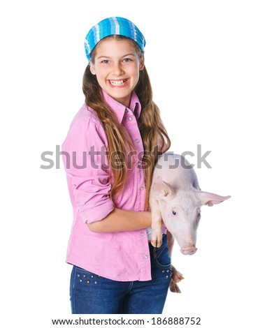 Little farmer. Cute girl with pig. Isolated on white background. - stock photo