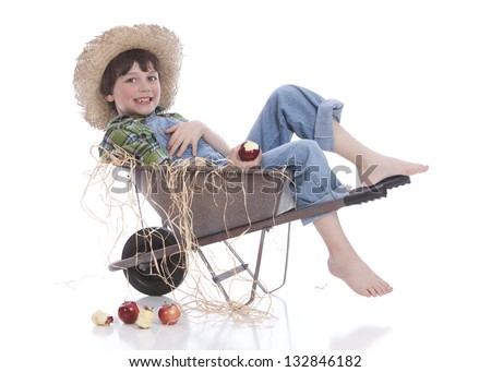 Little Farmer.  Isolated on white. - stock photo