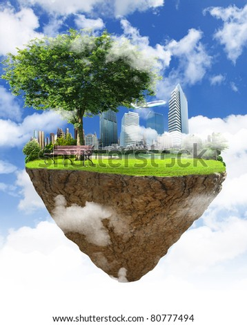 Little fine island in the sky and buildings - stock photo