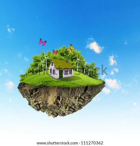 Little fine island / planet. A piece of land in the air. Lawn with house and tree. Pathway in the grass. Detailed ground in the base. Concept of success and happiness, idyllic ecological lifestyle - stock photo