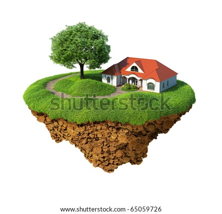 Little fine island / planet. A piece of land in the air. Lawn with house and tree. Pathway in the grass. Detailed ground in the base. Concept of success and happiness, idyllic ecological lifestyle. - stock photo