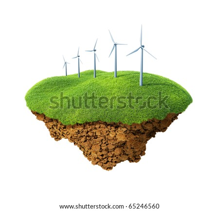 Little fine island / planet. A piece of land in the air. Wind power station mills on the lawn. Detailed ground in the base. Concept idyllic ecological lifestyle, modern enegry consumption. - stock photo