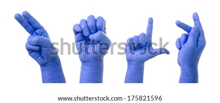 Little Finger Spelling the Alphabet in American Sign Language (ASL). Word is Help - stock photo