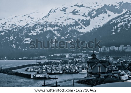 Little fishing village of Whittier, Alaska - stock photo