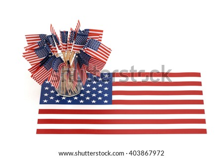 Little flags on the American flag - stock photo