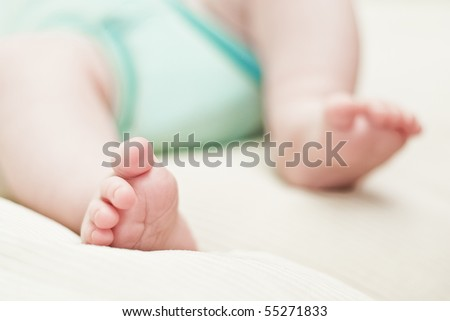 little foot of newborn baby - stock photo