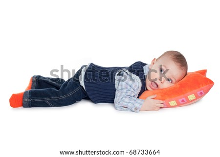 little funny boy isolated on white