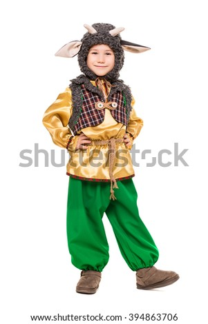 little funny boy posing in a goat costume isolated on white
