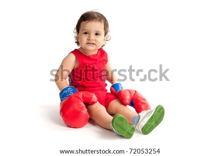 little funny boy with boxing gloves isolated - stock photo