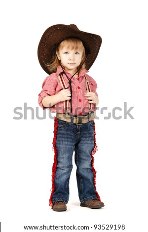 little funny cowgirl - stock photo