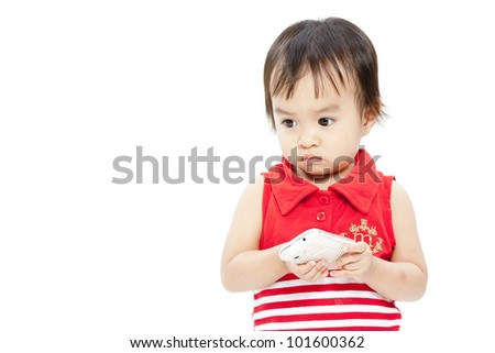 little funny curly girl with mobile phone - stock photo