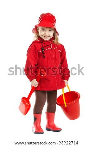 little funny firefighter - stock photo