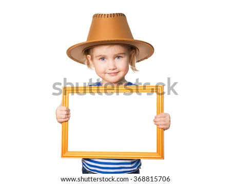 Little Funny girl in striped shirt and hat with blackboard. Isolated on white background - stock photo