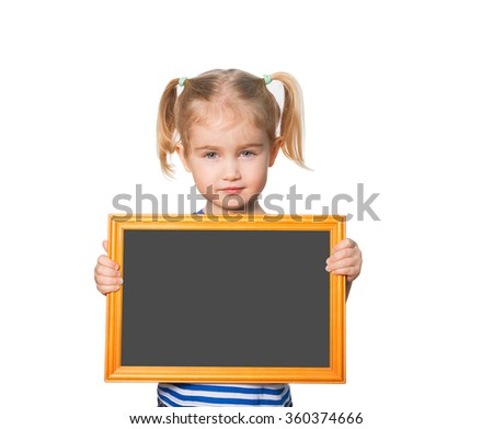 Little Funny girl in striped shirt with blackboard. Isolated on white background - stock photo