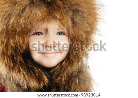 little funny girl with fur hat isolated on white background - stock photo