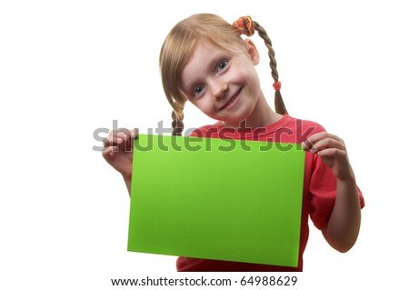Little funny girl with green sheet of paper in the hands isolated over white background - stock photo
