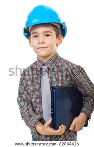 Little future architect with helmet holding notebook isolated on white background - stock photo