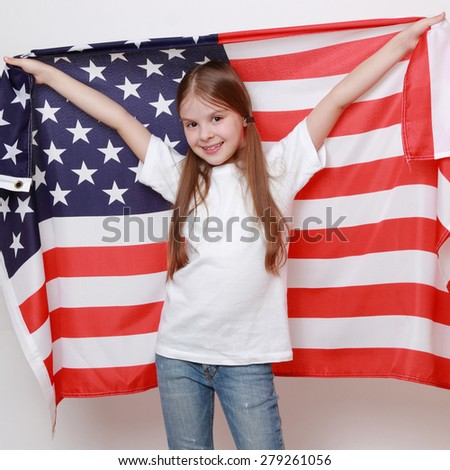 Little girl and American flag