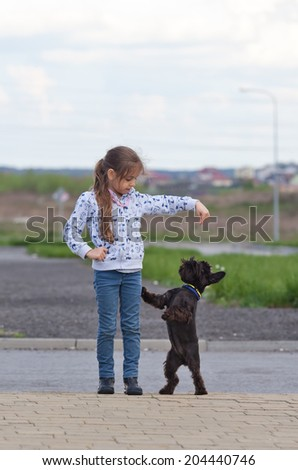 Little girl and black miniature schnauzer outdoors - stock photo