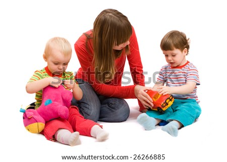 Little girl and boy playing together with mother. Isolated over white - stock photo