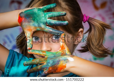 little girl and colors - portrait - stock photo