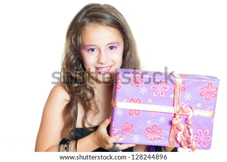 Little Girl and gift isolated on white - stock photo