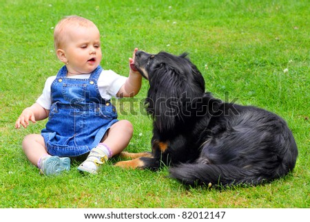 Little girl and here dog on a grass. - stock photo