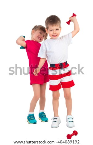 Little girl and little boy perform gymnastic exercises with a dumbbell on a white background - stock photo