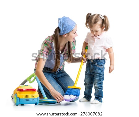 Little girl and mom cleaning room isolated - stock photo