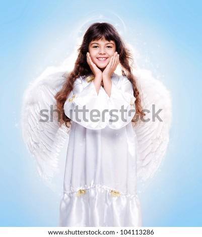 Little girl angel - stock photo