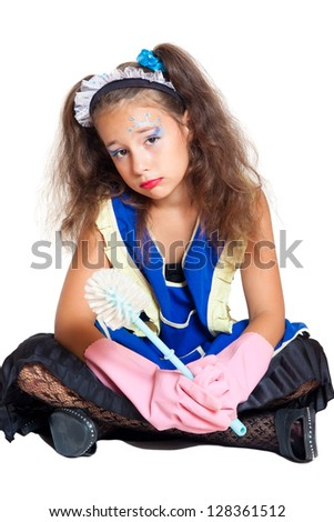 little girl as a cleaner isolated on white - stock photo