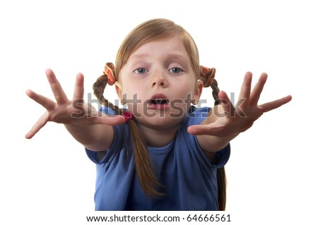 Little girl asking a help isolated over white background - stock photo