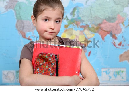 little girl at school - stock photo