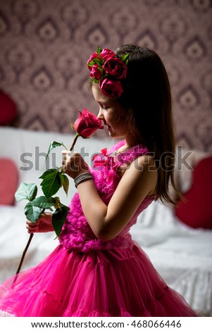 little girl beautiful dress with roses