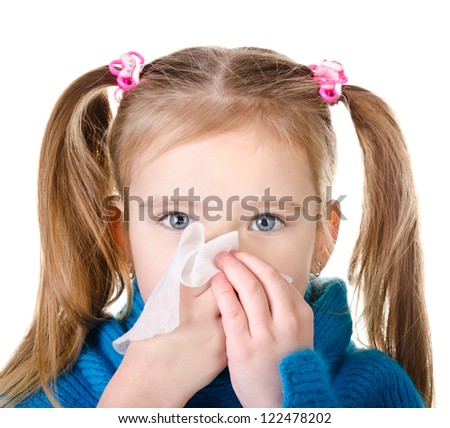 Little girl blowing her nose closeup isolated on white - stock photo